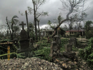 Cemetery littered with uprooted trees and vegetation in Camp Perrin