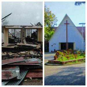 Eglise St Anne, Camp Perrin: the church before and after the hurricane